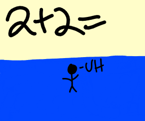 2+2= man standing on ocean