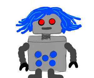 Robot with blue hair