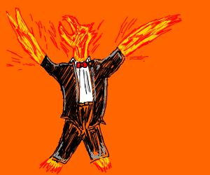 Phoenix wearing a tuxedo