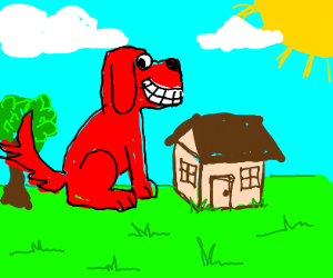 A happy Clifford the dog