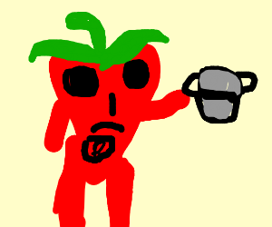 Pepper-man showing his pot