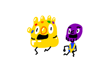 smol thanos and alive gauntlet