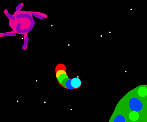 Colorfull bean floating on space