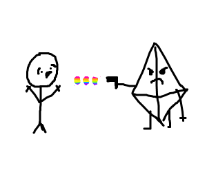 clear prism shoots rainbows and kills person