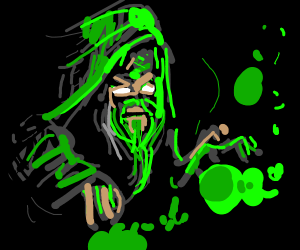 wizard does green magic
