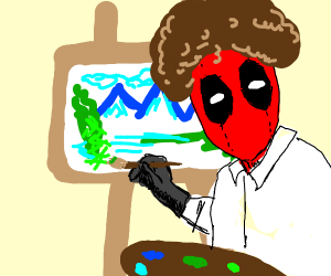 Deadpool dressed as Bob Ross