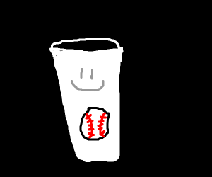 baseball in a happy white cup