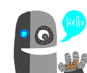 robot saying hello to human peanut