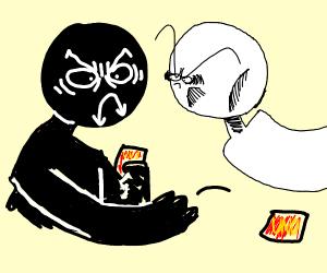 an intense round of Uno