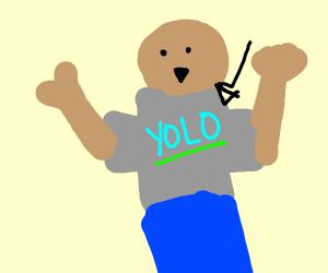 Guy wearing yolo