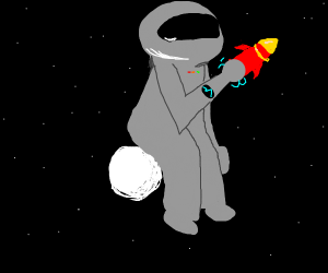 A spaceman with a rocket on a very small moon