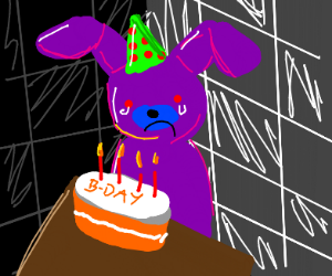 Robot Furry alone on his birthday