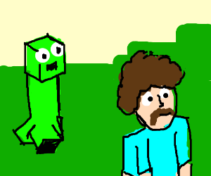 Creeper sneaking up on Bob Ross