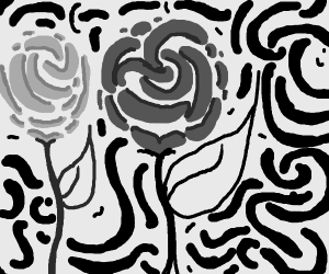 Roses painted in swirly, broad strokes