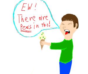 ew this ice cream has peas/green dots