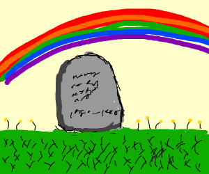 Weathered grave under a rainbow