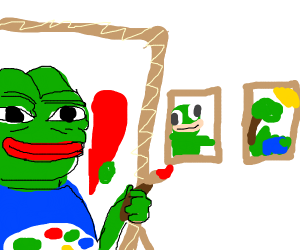 pepe painting in art gallery