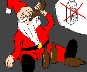 Santa drinking beer instead of milk
