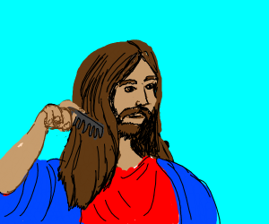 Jesus combing his hair