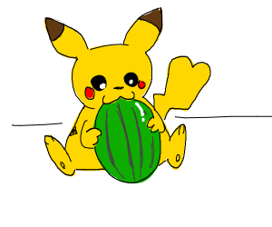 a Pokémon eats a blue watermelon
