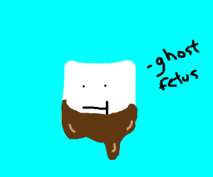 """Marshmallow with :T face says """"ghost fetus."""""""