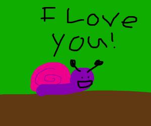 A purple barney snail