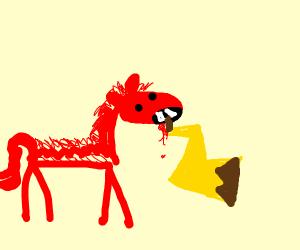 weird red pony OC eating Pikachu