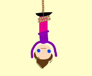 a man hanging himself upside down