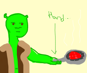 ogre grilling steak