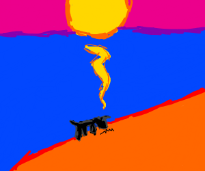 goat eating grass in a sunset