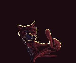 A fox giving a thumbs up in the dark