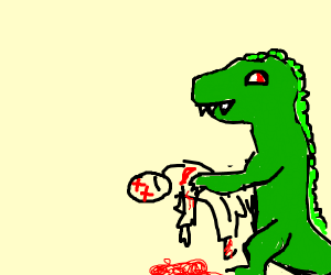 t-rex carrying bloody corpse