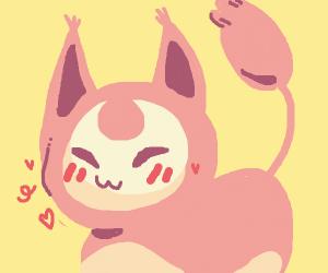 strange cat pokemon blushing