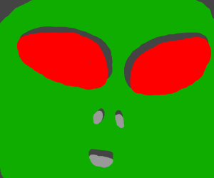 Angry green alien with red eyes