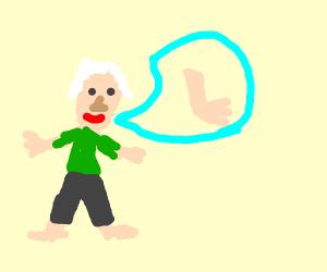 Old man talking about his leg