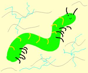 hyperrealistic flying caterpillar w static