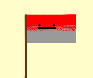 A red-grey flag with a face
