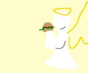 Angel eating hamburger