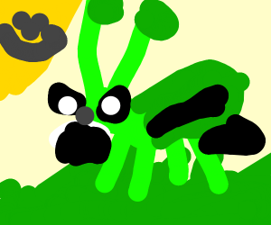 angry grass hopper in the grass