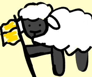 Sheep with a flag