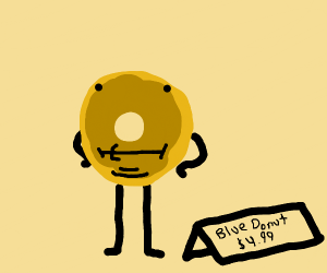 Yellow donut that is labelled as being blue