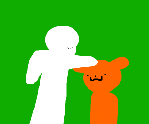 Petting orange bear