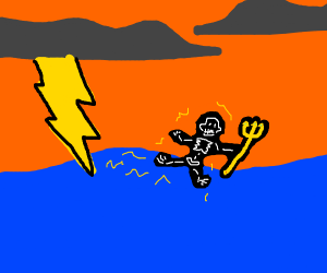 Zeus and his bolt get shocked in the ocean