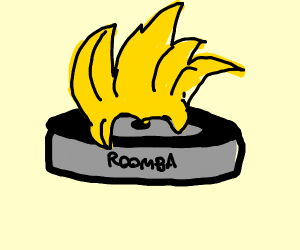 A roomba with anime hair
