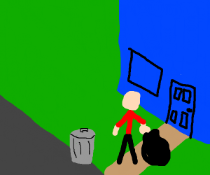 Man taking garbage out of a blue house