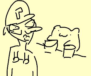 Waluigi looks at bongo cat