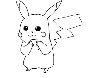 Pikachu enjoying a coffee