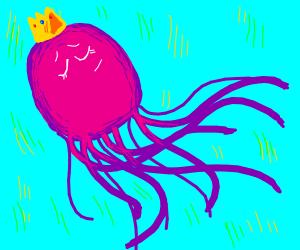 Pink jellyfish wearing a crown