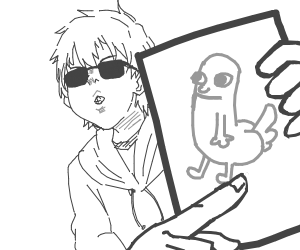 cool dude holding up a cool drawing