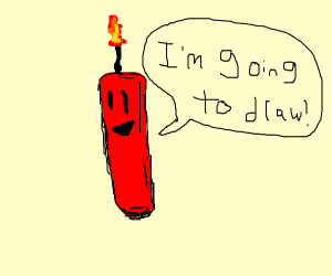 A red candle saying it's going to draw